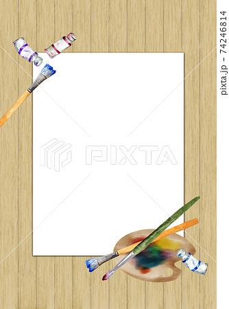 絵の具道具のフレーム 板壁背景 74246814