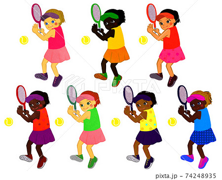 テニスをする女の子 74248935