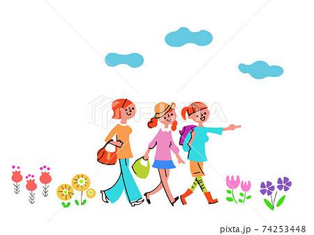 花畑を笑顔で歩く3人の女性 74253448