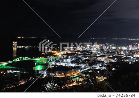広島県広島市黄金山からの夜景(宇品方面) 74256734