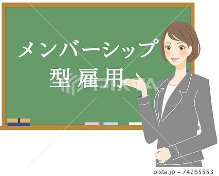メンバーシップ型の雇用制度を解説する採用担当者の女性 74265553