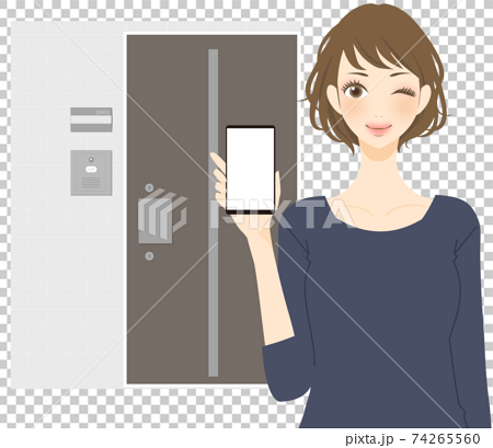 Female housewife who requests delivery with a smartphone, front door, non-contact delivery 74265560