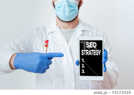 Writing note showing Seo Strategy. Business photo 74272039