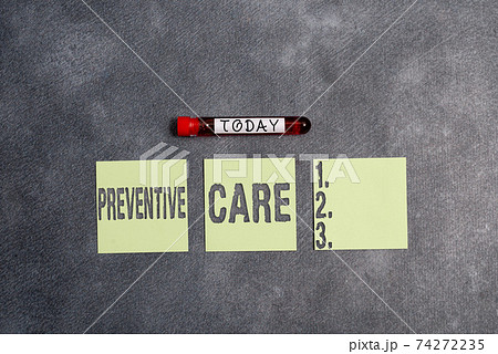 Conceptual hand writing showing Preventive Care 74272235