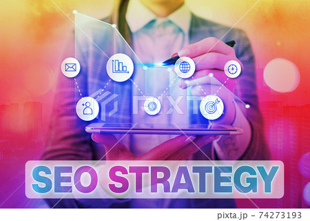 Handwriting text writing Seo Strategy. Concept 74273193