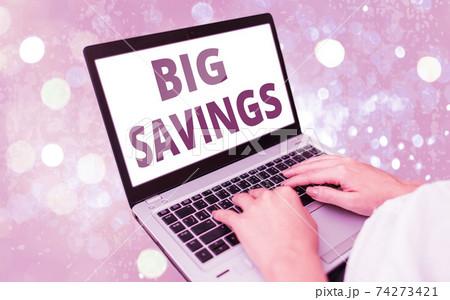Text sign showing Big Savings. Conceptual photo 74273421