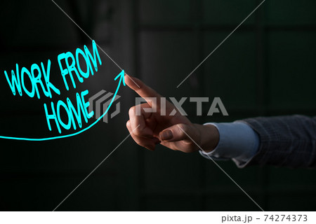 Conceptual hand writing showing Work From Home 74274373