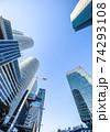 名駅超高層ビル群を青空に見上げる 74293108