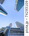 名駅超高層ビル群を青空に見上げる 74293109