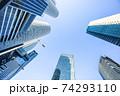 名駅超高層ビル群を青空に見上げる 74293110