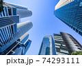 名駅超高層ビル群を青空に見上げる 74293111