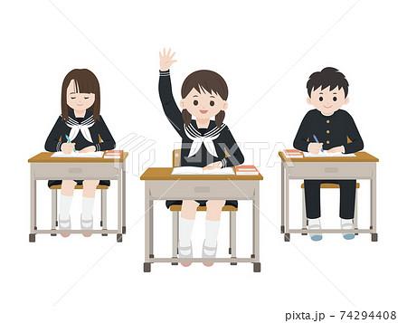 授業風景 勉強をする 手を挙げる 学生 生徒 イラスト素材 74294408