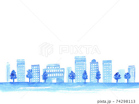 水彩で描いた都会の街並み 74298113