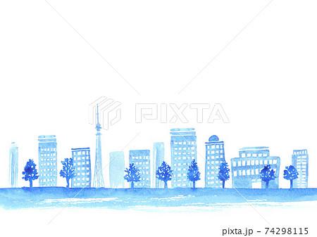 水彩で描いた都会の街並み 74298115