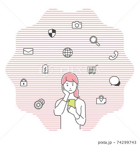 スマートフォンに困惑する若い女性 アイコン付き/3色 74299743