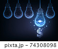 Futuristic financial business ideas concept with glowing low polygonal hanging lightbulbs and dollar 74308098