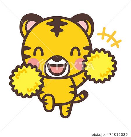 応援するかわいいトラのキャラクター 74312026