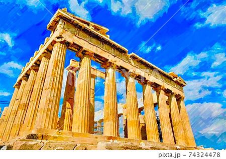 ギリシャ・パルテノン神殿の風景 74324478