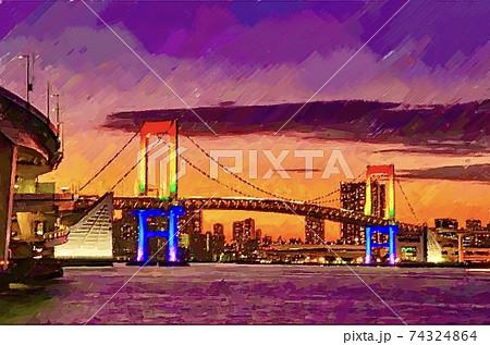 東京・レインボーブリッジの風景 74324864