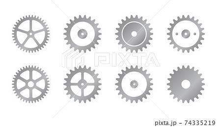 歯車・ギア ベクターアイコンイラストセット(シルバー) 74335219