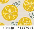 フルーツ柄の背景 レモン オレンジ 74337914