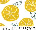 フルーツ柄の背景 レモン オレンジ 74337917