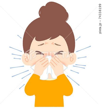 くしゃみがつらそう、鼻をかむ女性 - 花粉症、アレルギー、風邪 74338199