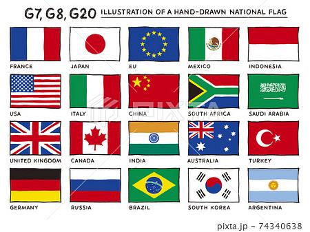 G20,G8,G7の国旗の手描きイラスト 正面 74340638