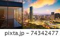 Panoramic view of beautiful evening cityscape 74342477
