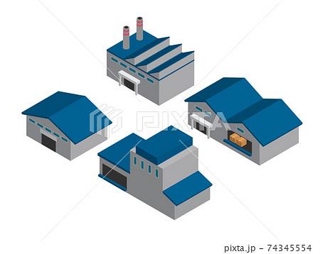 アイソメトリック 工場 倉庫 建物 セット 74345554