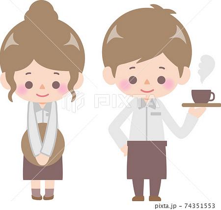 カフェで働く男性と女性 74351553