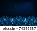 Beautiful glowing low polygonal waterlily, lotus flower boder on dark blue background 74352637