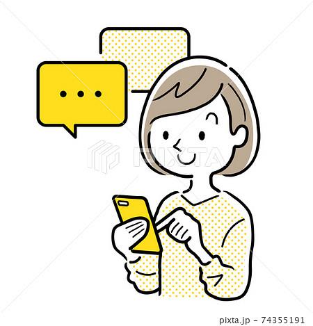 ベクターイラスト素材:スマートフォンでメッセージのやりとりをする若い女性 74355191