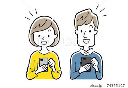 ベクターイラスト素材:スマートフォンを使う若い男女 74355197