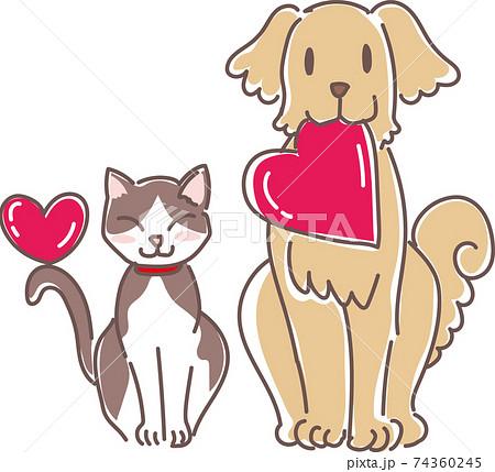 ハートを持った犬と猫 74360245