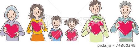 ハートを持つ6人家族 74360249