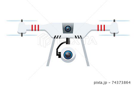 未来の空撮航空撮影ドローン無人飛行機マルチコプターのイラスト段ボールマルチコプターテクノロジー 74373864