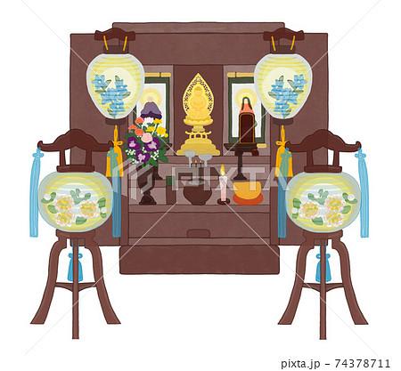 お盆 仏壇開きとお盆提灯のセット 74378711