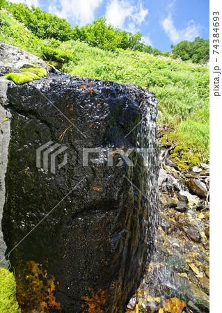 夏の白馬岳 大雪渓・岩室付近の水場 74384693