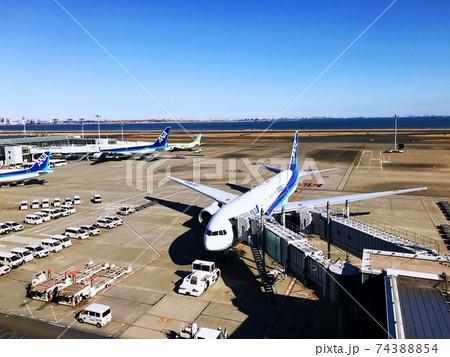 快晴の羽田空港と駐機場にいる旅客機 74388854