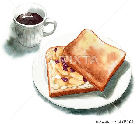 アナログ水彩アップルパイ風トーストとコーヒー 74389434