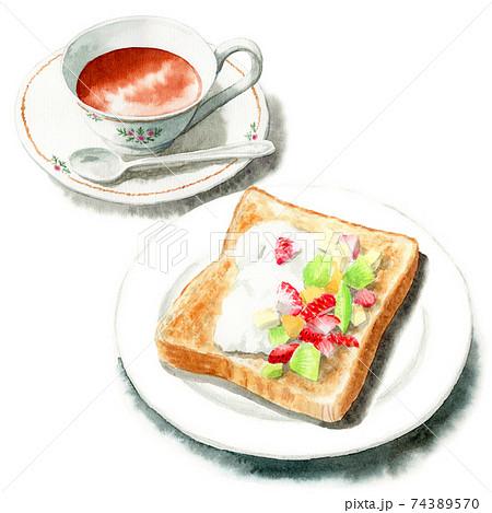 アナログ水彩フルーツを乗せたトーストと紅茶 74389570