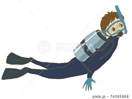 スキューバダイビングをしている男性。 74393868