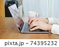 パソコンをタイピングする男性の両手-テレワークイメージ 74395232