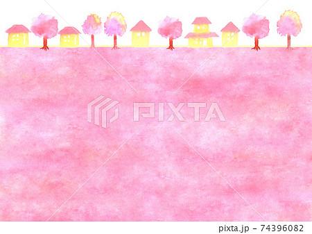 桜と町並みの背景イラスト 74396082