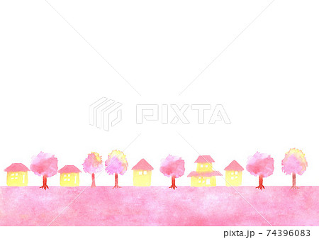 桜と町並みの背景イラスト 74396083