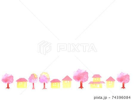 桜と町並みの背景イラスト 74396084