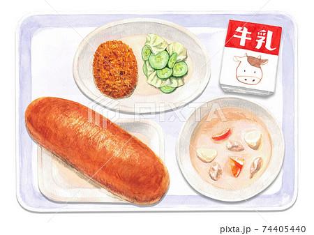 コッペパン給食(水彩イラスト) 74405440
