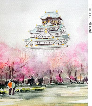 大阪城 春 大阪城公園 日本の春 桜 74410136