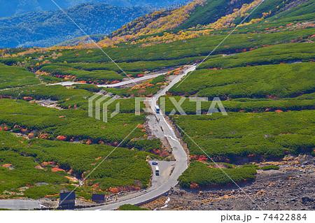 岐阜県(長野県)乗鞍岳の摩利支天岳の東から東側のエコーラインの眺望 74422884